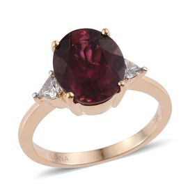 ILIANA 18K Y Gold Rare Pink Tourmaline (Ovl 3.85 Ct), Diamond Ring 4.150 Ct.