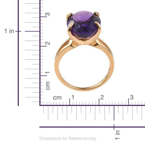 Lusaka Amethyst (Ovl) Ring in 14K Gold Overlay Sterling Silver 11.000 Ct.