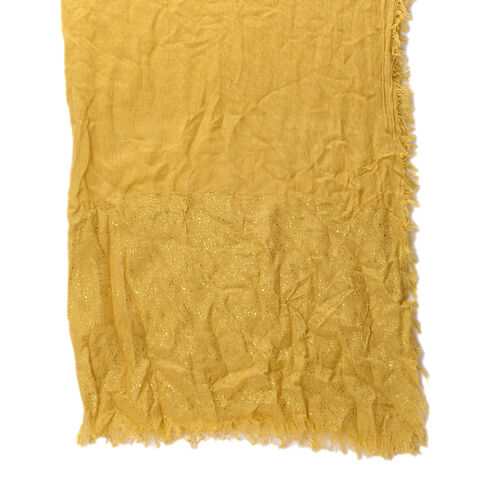 Yellow Colour Scarf with Golden Design at Bottom (Size 185x95 Cm)