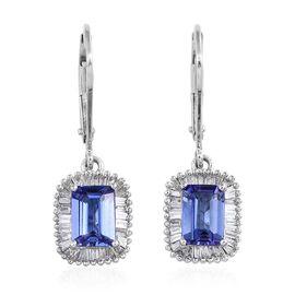 ILIANA 18K White Gold 2.50 Carat AAA Tanzanite Lever Back Earrings With Diamond SI G-H
