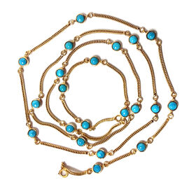 Arizona Sleeping Beauty Turquoise (Rnd) Station Necklace (Size 30) in 14K Gold Overlay Sterling Silver 5.250 Ct.