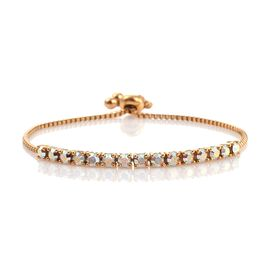 J Francis Crystal from Swarovski - AB Crystal (Rnd) Adjustable Bracelet (Size 7.5) ION Plated 18K Yellow Gold Bond