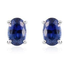 RHAPSODY 950 Platinum AAAA Ceylon Blue Sapphire (Ovl) Stud Earrings (with Screw Back) 1.250 Ct.