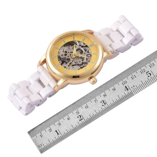 GENOA Skeleton Dial Automatic Water Resistant White Ceramic Watch in Yellow Gold Tone