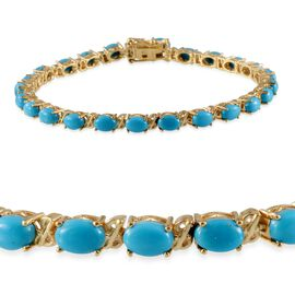 Arizona Sleeping Beauty Turquoise (Ovl) Bracelet (Size 8) in 14K Gold Overlay Sterling Silver 10.000 Ct.