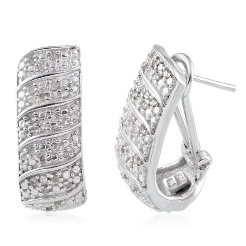 Diamond (Rnd) Hoop Earrings (with French Clip) in Platinum Overlay Sterling Silver 0.330 Ct.
