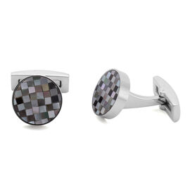 (Option-3) Abalone Puka Shell Cufflinks in Stainless Steel 5.000 Ct.