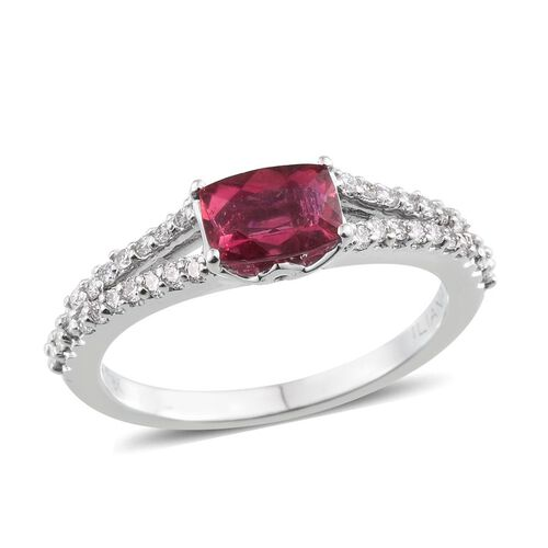 ILIANA 18K W Gold RARE AAAA Rubellite (Cush 1.00 Ct), Diamond Ring 1.350 Ct.