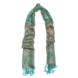 SILK MARK- 100% Superfine Silk Turquoise and Multi Colour Jacquard Jamawar Scarf with Fringes (Size 180x70 Cm)
