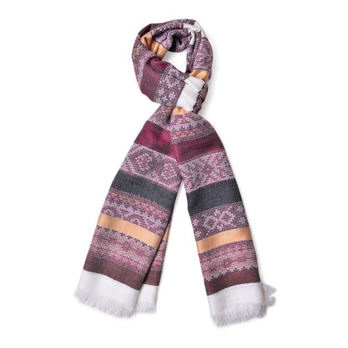 Chocolate, White and Multi Colour Stripes Pattern Scarf with Fringes (Size 180X67 Cm)
