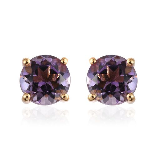Amethyst (Rnd) Stud Earrings (with Push Back) in 14K Gold Overlay Sterling Silver 2.750 Ct.