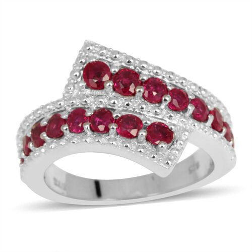 Burmese Ruby (Rnd) Crossover Ring in Rhodium Plated Sterling Silver 1.500 Ct.