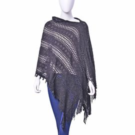 Designer Inspired Black Colour Poncho with Tassel (Free Size)