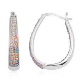 Vicenza Collection Aurora Borealis Colour In and Out Hoop Earrings (with Clasp) in Silver Bond