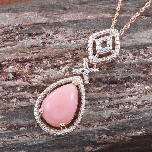 Natural Peruvian Pink Opal (Pear) Solitaire Pendant With Chain in Rose Gold Overlay Sterling Silver 4.500 Ct.