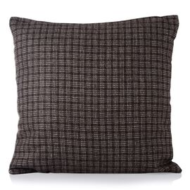 55% Wool Checks Pattern Beige and Chocolate Colour Cushion (Size 43x43 Cm)