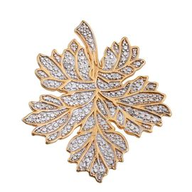 DOD - Diamond (Rnd) Maple Leaf Brooch in ION Plated 18K Yellow Gold Bond