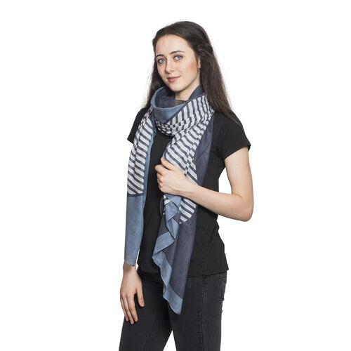 Stripe Pattern Blue and White Colour Scarf (Size 180x100 Cm)