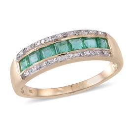 9K Y Gold Kagem Zambian Emerald (Sqr), Natural Cambodian White Zircon Ring.