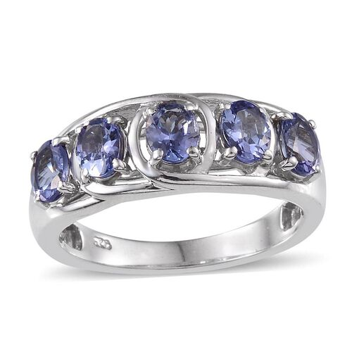 Tanzanite (Ovl) 5 Stone Ring in Platinum Overlay Sterling Silver 1.500 Ct.