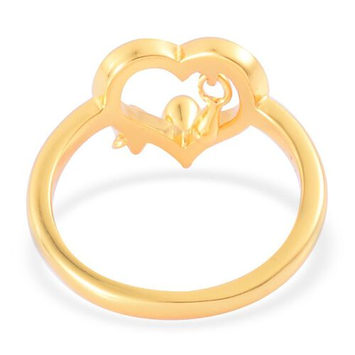 LucyQ Open Heart 3 Drip Silver Ring in Yellow Gold Overlay 3.60 Gms.