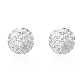 Vicenza Collection 9K White Gold Diamond Cut Ball Stud Earrings (with Push Back)
