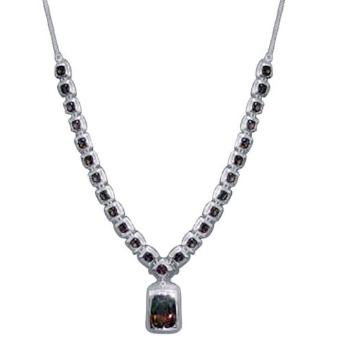 Brazilian Smoky Quartz (Cush 18.00 Ct) Necklace (Size 19) in Rhodium Plated Sterling Silver 40.500 Ct.