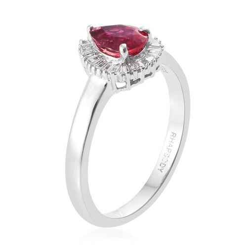 RHAPSODY 950 Platinum 0.98 Carat AAAA Rubelite Pear Halo Ring with Diamond VS/E-F