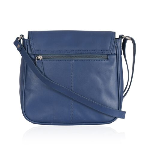 Genuine Leather Blue Colour Sling Bag with External Zipper Pocket and Adjustable Shoulder Strap (Size 23x23 Cm)