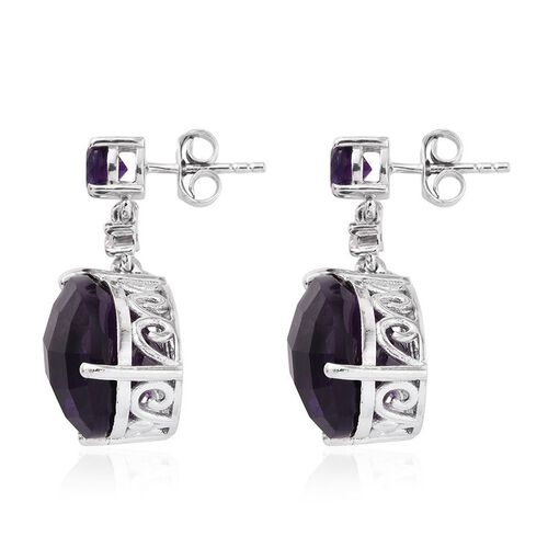 Lusaka Amethyst (Pear), White Topaz Earrings (with Push Back) in Platinum Overlay Sterling Silver 18.750 Ct.