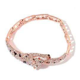 AAA White Austrian Crystal Leopard Bracelet (Size 7.5) in Rose Gold Tone