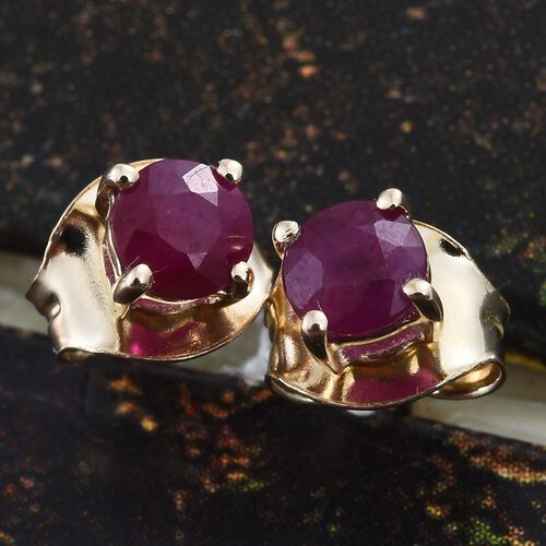 9K Yellow Gold 0.70 ct. Burmese Ruby Solitaire Stud Earrings