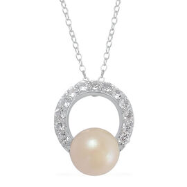 Japanese Akoya Pearl (Rnd 2.75 Ct), White Topaz Pendant With Chain in Rhodium Plated Sterling Silver 3.150 Ct.