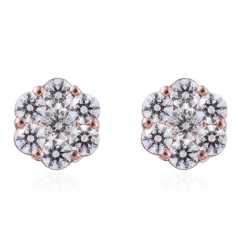 J Francis - Rose Gold Overlay Sterling Silver (Rnd) Floral Stud Earrings (with Push Back) Made with SWAROVSKI ZIRCONIA