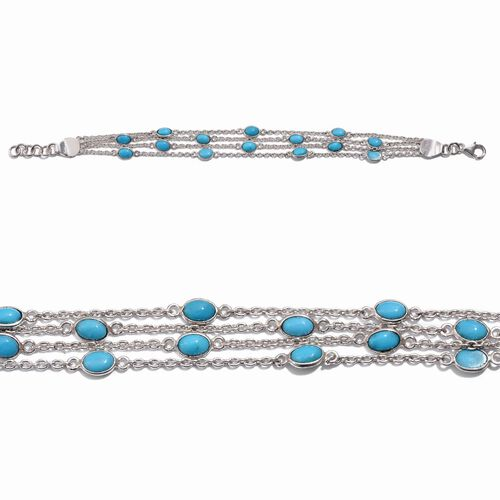Arizona Sleeping Beauty Turquoise (Ovl) Multi Strand Bracelet in Sterling Silver (Size 7 with 1 inch Extender) 6.590 Ct.