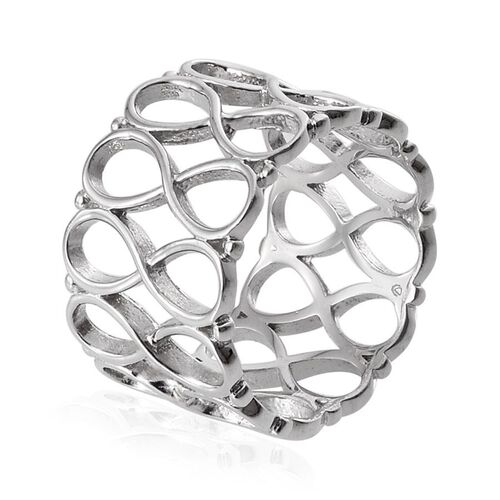 Platinum Overlay Sterling Silver Stackable Infinity Band Ring, Silver wt 5.48 Gms.