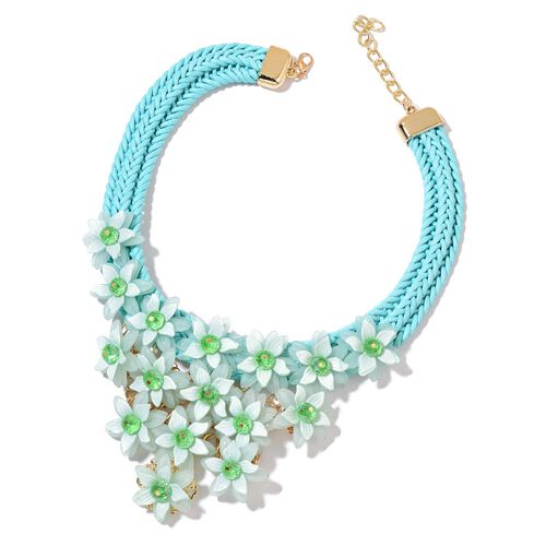Simulated Emerald Floral Necklace (Size 18 with 2 inch Extender) in Yellow Gold Tone