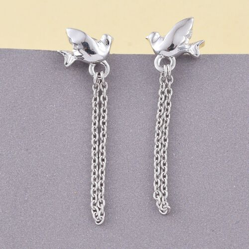 Flying Bird Silver Earrings (with Push Back) in Platinum Overlay, Silver Wt. 1.97 Gms
