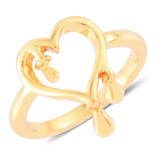 LucyQ Open Melting Heart Ring with 3 Drip in Yellow Gold Overlay Sterling Silver 2.87 Gms.