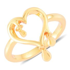 LucyQ Open Melting Heart Ring with 3 Drip in Yellow Gold Overlay Sterling Silver 3.60 Gms.