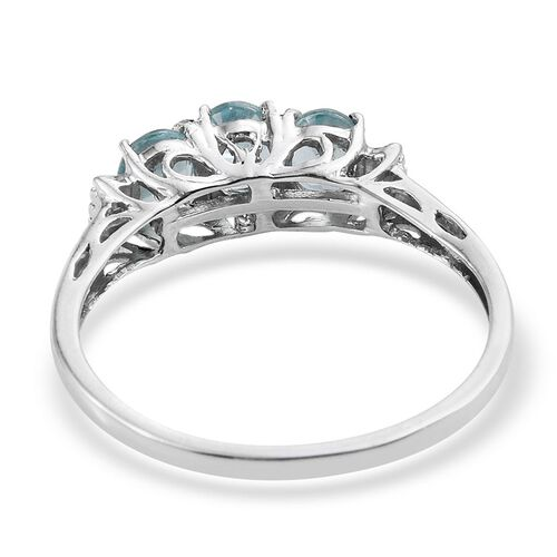 Paraibe Apatite (Ovl), Diamond Ring in Platinum Overlay Sterling Silver 1.010 Ct.