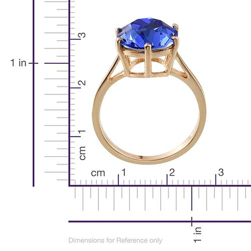 J Francis Crystal from Swarovski - Sapphire Colour Crystal (Rnd) Solitaire Ring in 14K Gold Overlay Sterling Silver