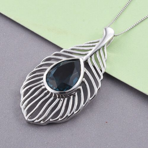 Indicolite Quartz (Pear) Peacock Feather Pendant With Chain in Platinum Overlay Sterling Silver 6.250 Ct.