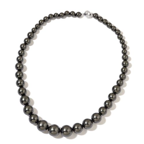 Super Auction - Graduated Black Shell Pearl Necklace (Size 20) with Sterling Silver Magnetic Lock and Stretchable Bracelet (Size 7.5)