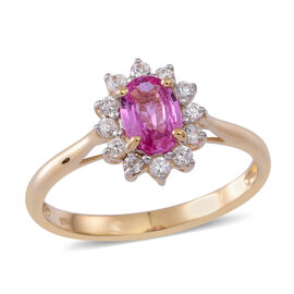 9K Y Gold Pink Sapphire (Ovl 0.93 Ct), Natural Cambodian White Zircon Ring 1.250 Ct.