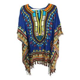 Bali Collection - 100% Rayon Blue and Multi Colour Mandala Ethnic Motif Poncho (Free Size)