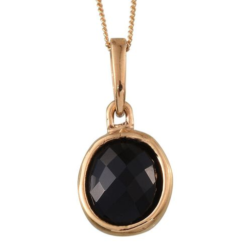 Black Onyx (Ovl) Solitaire Pendant With Chain in 14K Gold Overlay Sterling Silver 3.250 Ct.