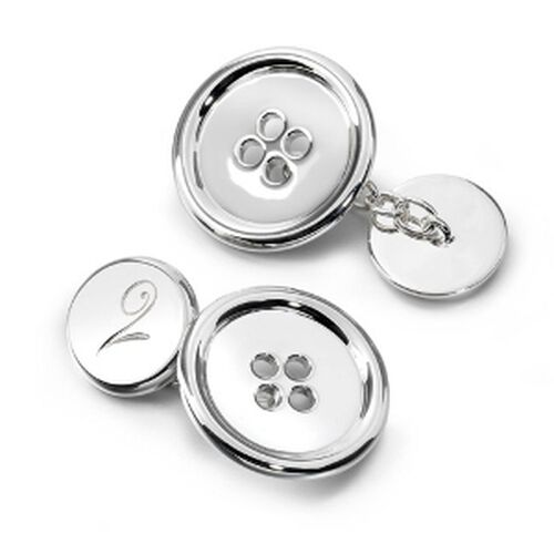LucyQ Large Button Cufflinks in Sterling Silver 20.51 Gms.