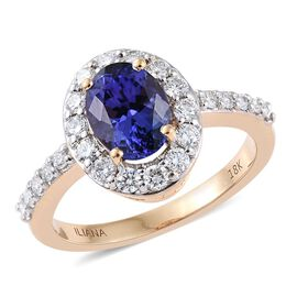 ILIANA 18K Yellow Gold 2 Carat AAA Tanzanite Ring With Diamond SI G-H