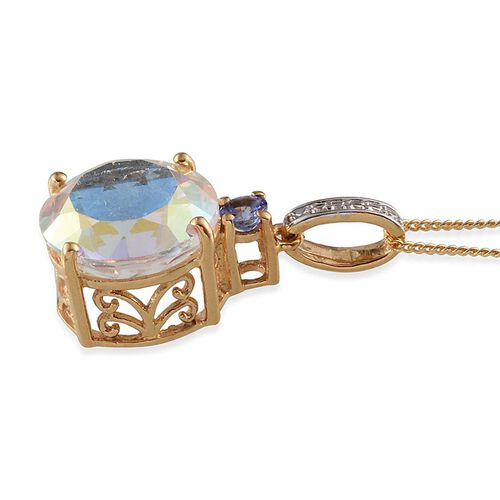Mercury Mystic Topaz (Rnd 8.00 Ct), Tanzanite Pendant With Chain in 14K Gold Overlay Sterling Silver 8.100 Ct.